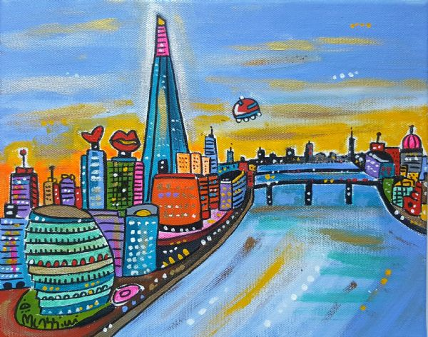 Futuristic View of London from Tower Bridge